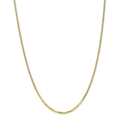 10k Yellow Gold 2.2mm Flat Beveled Curb Chain Necklace