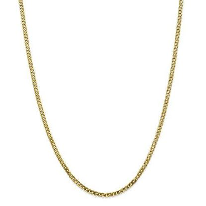 10k Yellow Gold 2.9mm Flat Beveled Curb Chain Necklace