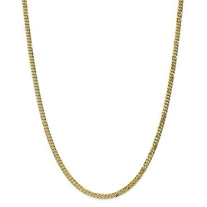 10k Yellow Gold 3.2mm Flat Beveled Curb Chain Necklace