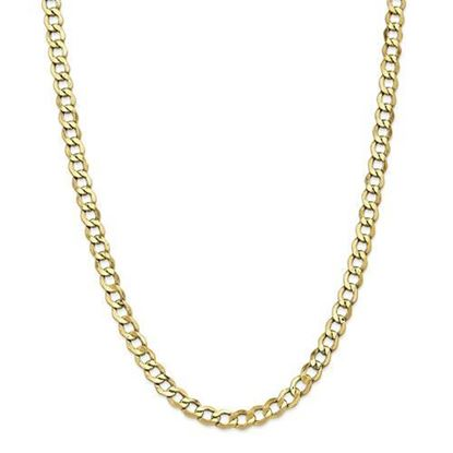 10k Yellow Gold6.5mm Semi-Solid Curb Link Chain Necklace