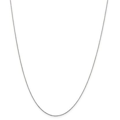 16 inch 10k White Gold .6mm Solid Diamond Cut Cable Chain Necklace