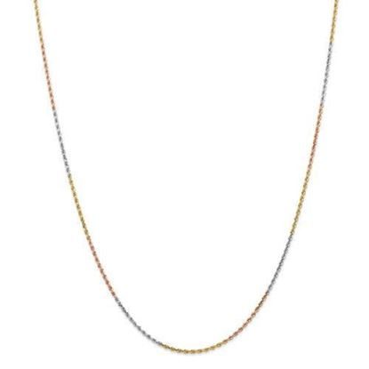 14k Tri-Color Gold 1.5mm Diamond Cut Rope Chain Necklace