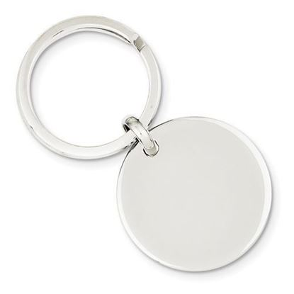 Sterling Silver Engravable Rhodium-plated Round Key Ring