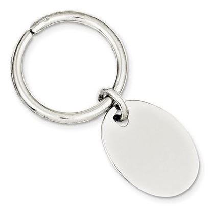Sterling Silver Engravable Rhodium-plated Oval Key Chain