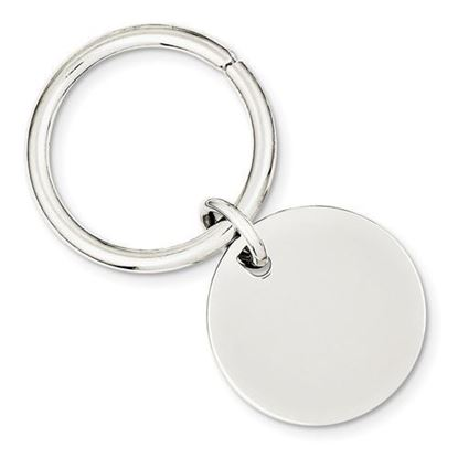 Sterling Silver Engravable Rhodium-plated Polished Round Key Chain
