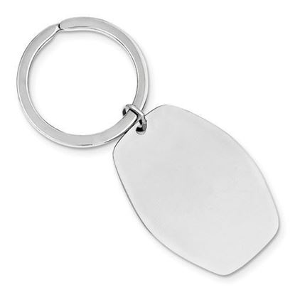 Sterling Silver Engravable Rhodium-plated Polished Key Chain