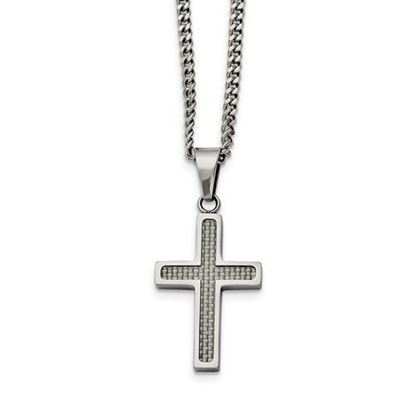 20 Inch Stainless Steel Grey Carbon Fiber Inlay Cross Necklace