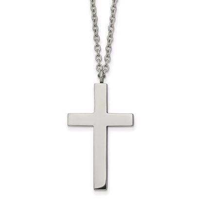 18 Inch Polished Stainless Steel Cross Necklace
