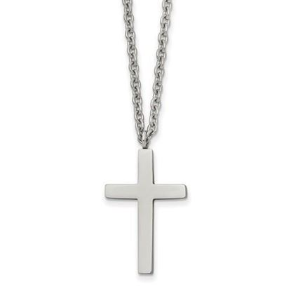 18 Inch Stainless Steel Polished Cross Necklace