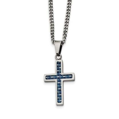 20 Inch Stainless Steel Blue Carbon Fiber Cross Necklace