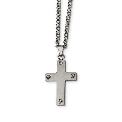 22 Inch Stainless Steel Cross Necklace