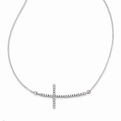 16 Inch Sterling Silver CZ Sideways Cross Necklace