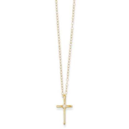 15 Inch 14k Yellow Gold Madi K .01ct Diamond Cross Necklace