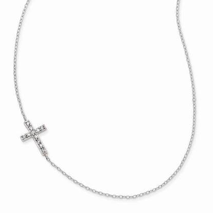 16 Inch Sterling Silver CZ Offset Sideways Cross Necklace