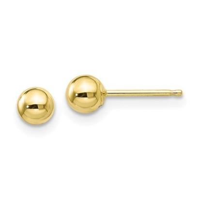 10k Yellow Gold Polished 4mm Ball Post Earrings