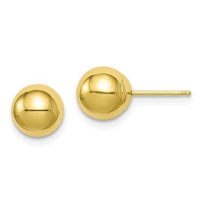 10k Yellow Gold Polished 7mm Ball Post Earrings