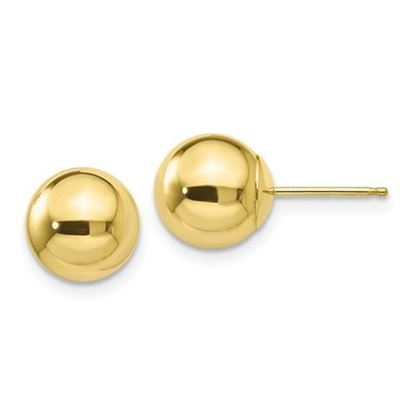 10k Yellow Gold Polished 8mm Ball Post Earrings