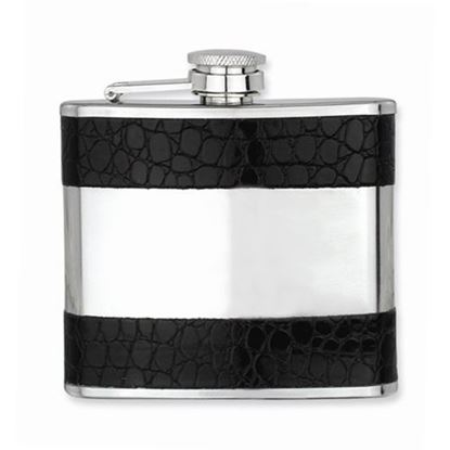 Black Faux Leather Polished Stainless Steel 5oz Hip Flask