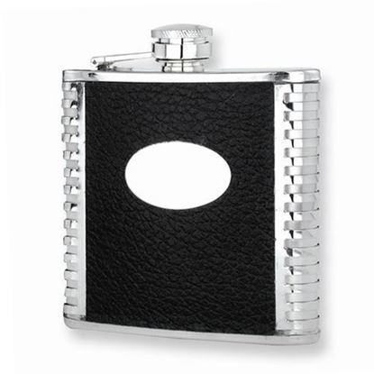 Black Faux Leather Polished Stainless Steel 6oz Hip Flask