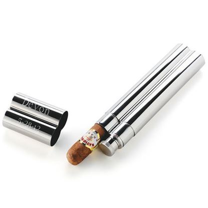 Personalized Stainless Steel Cigar Case and Flask