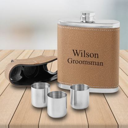 Personalized 7oz Flask with Lid 3 Stainless Steel Shot Glasses