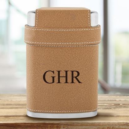 Personalized 3 Initials 7oz Flask with Lid 3 Stainless Steel Shot Glasses