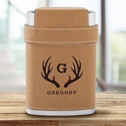 Personalized Antler Design 7oz Flask with Lid 3 Stainless Steel Shot Glasses