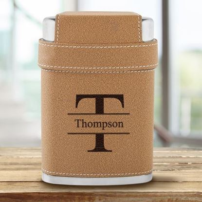 Personalized Stamped Design 7oz Flask with Lid 3 Stainless Steel Shot Glasses