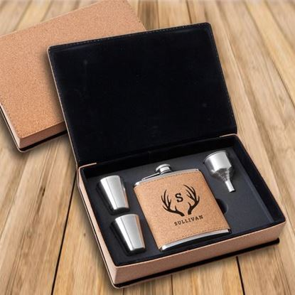 Personalized Cork Flask & Shot Glass Antler Design Gift Box Set