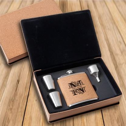 Personalized Cork Flask & Shot Glass Filigree Design Gift Box Set