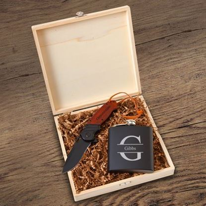Groomsmen Personalized Stamp Design Flask Gift Box