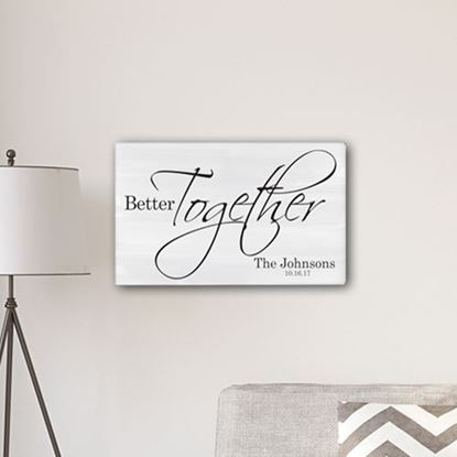 Personalized Better Together Modern Farmhouse Style 14 x 24 Canvas Sign
