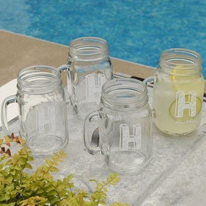 Personalized Glass Jar Mugs - Set of Four