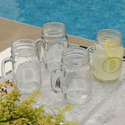 Personalized Glass Jar Mugs - Set of Four - Times New Roman