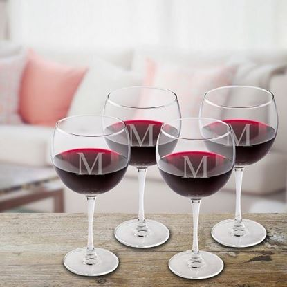 Personalized Set of 4 Red Wine Glasses