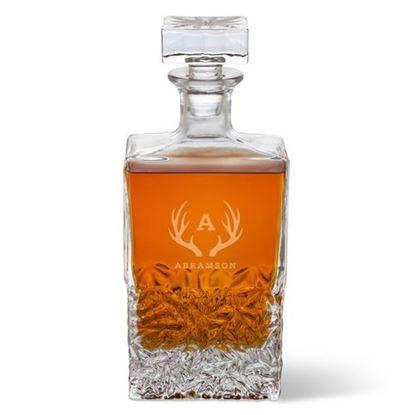 Personalized Antler Style Rectangular Whiskey Decanter