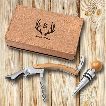 Personalized Antler Style Wine Opener Set - Cork