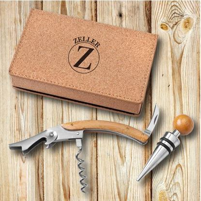 Personalized Circle Style Wine Opener Set - Cork