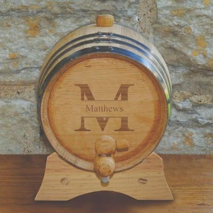 Personalized Stamped Style Oak Whiskey Barrel - 2 liter