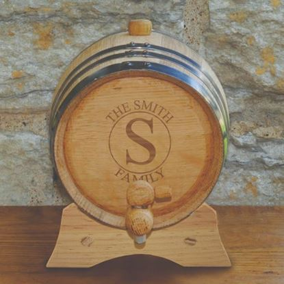 Personalized Circle Style Oak Whiskey Barrel - 2 liter