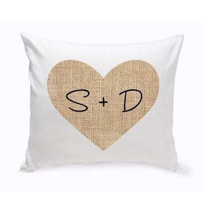 Personalized Burlap Heart 16x16 Throw Pillow