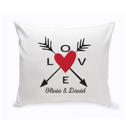 Personalized Love Arrow Red Heart 16x16 Throw Pillow