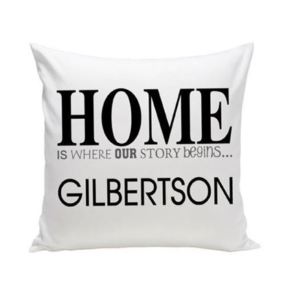 Personalized Story Begins 16x16 Throw Pillow