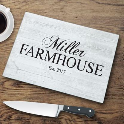Personalized Family Farmhouse Glass Cutting Board