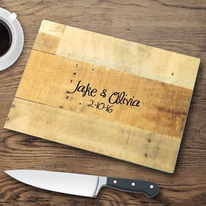 Personalized Wooden Look Glass Cutting Board