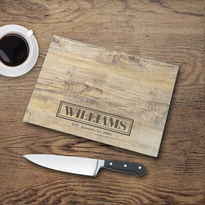 Personalized Rustic Look Glass Cutting Board