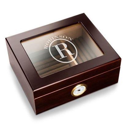 Personalized  Circle Style Capri Glass Top Humidor