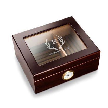 Personalized Antler Style Capri Glass Top Humidor