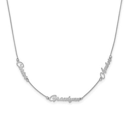 Personalized Sterling Silver Satin Three Nameplate Necklace