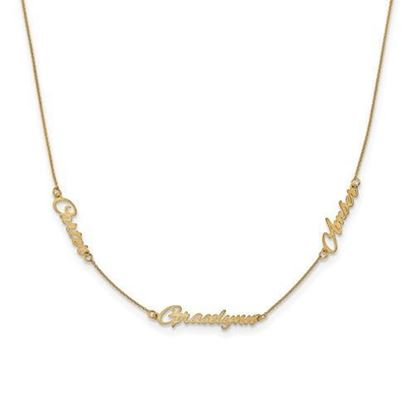 Personalized Gold Plated Satin Three Nameplate Necklace